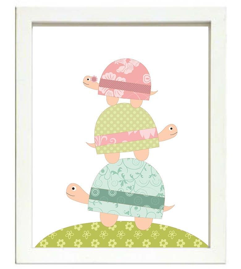 Turtle Nursery Art Nursery Print Baby Art Baby Animal Turtle Pink Green Teal Blue Polka Dots Wall Ar
