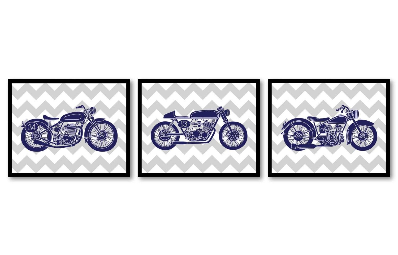 Motorcycle Nursery Art Nursery Prints Transportation Set of 3 Prints Navy Blue Grey Chevron Boys Art