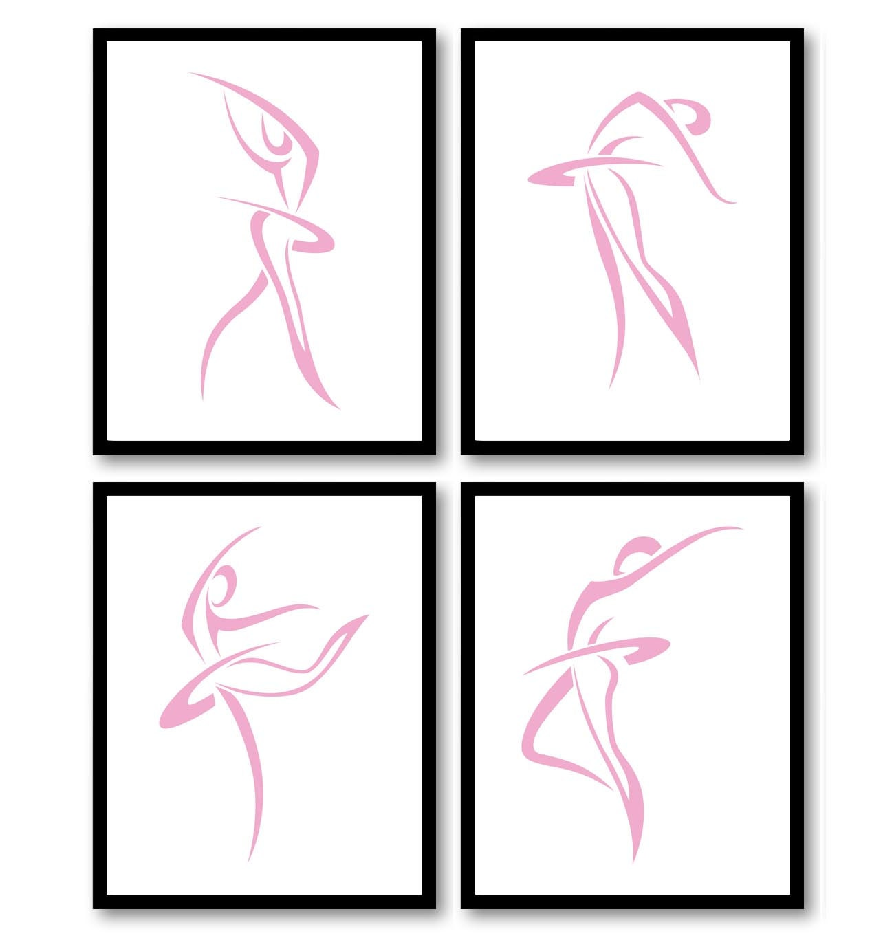 Pink White Modern Ballerina Art Child Baby Art Prints Set of 4 Silhouette Ballet Girl Kids Room Wall