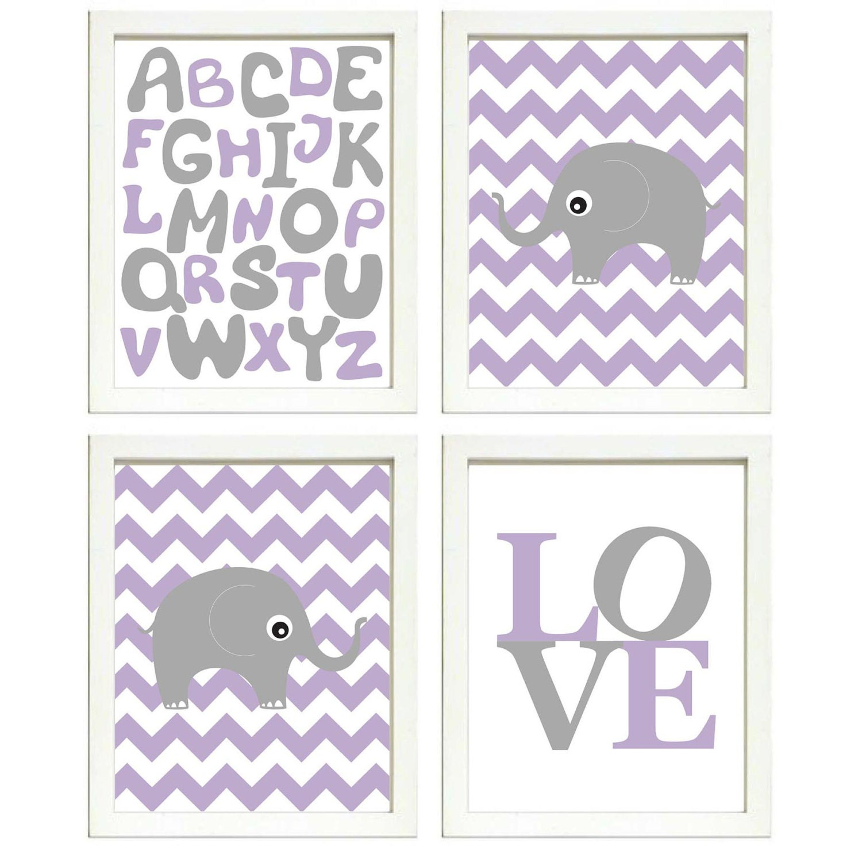 Elephant Nursery Art Set of 4 Prints Grey Purple Chevron LOVE Alphabet ABC Child Kids Room Wall Deco