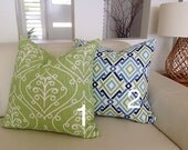 Green & Blue Pillows Diamond and Barcelona Modern Design Cushions Toss Pillows Decorative Pillows. Modern Cushions