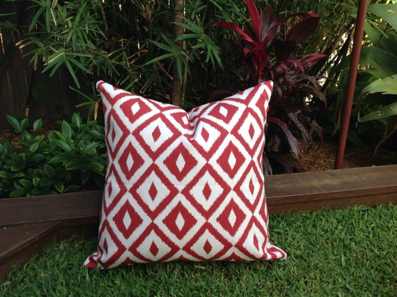 Red Outdoor Cushions Red and White Outdoor Pillows Geometric