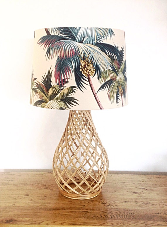 Palm trees lamp shade beach decor tropical decor barrel lampshade