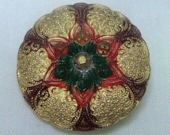 Czech Glass Button 27mm - hand painted - red, burgundy, green, gold (B27220)
