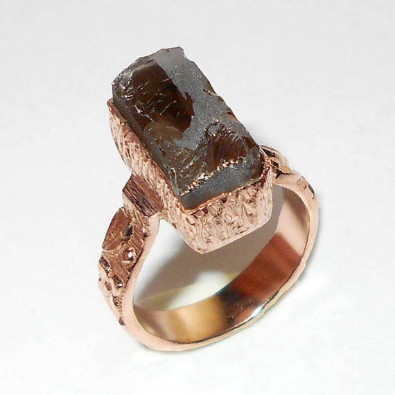 smoky quartz ring handmade ring gold vermeil ring by vedka