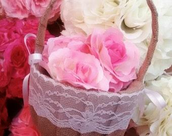 Burlap/hessian flower girl basket