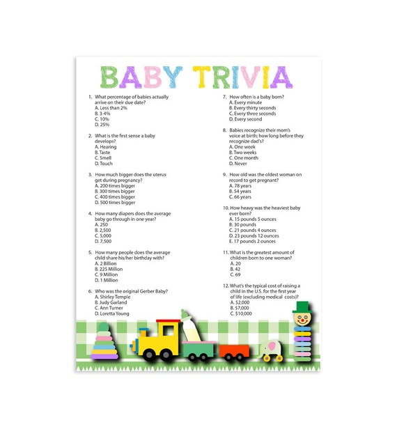 Baby shower trivia questions printable baby trivia games for Furniture quiz questions