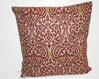 Waverly Ikat Jewel Maroon, Gold, and Cream 18x18  Pillow Cover Home Decor