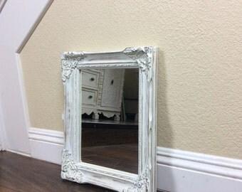 MIRROR, For Sale, White Mirror, Nursery Decor, Shabby Chic Wall Mirror, Vanity Mirror, Ornate Mirror, Cottage Chic Decor