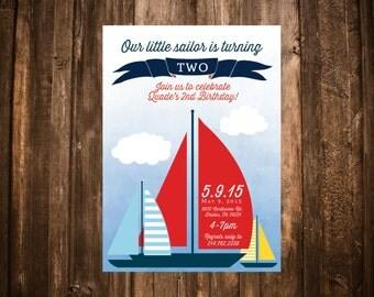 Sailor Birthday Invitation; Nautical