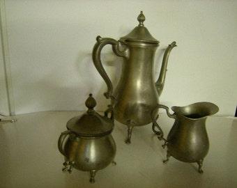 coffee set-tea set-pewter-pot-sugar-creamer-table top-tarnished-cottage chic-