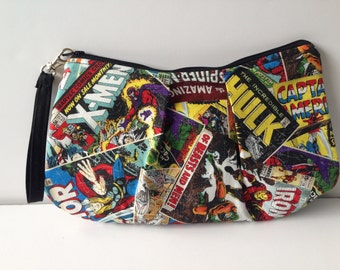 Large Marvel Comic Zippered Pleated Pouch Wristlet Purse