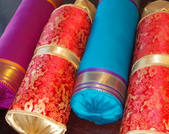 Beautiful India Silk Sari Neckroll Pillows and Chinese Brocade neckroll Pillows Sale was 30