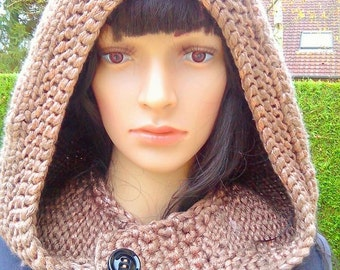 Taupe brown hood , trendy, soft, comfortable and very feminine.