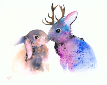 Kids art. custom painting. custom illustration. custom art. watercolor art. animal art. painting. bunnies. deer