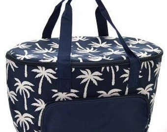 Insulated Cooler Bag.  Palm Tree Print.  Includes FREE Embroidery
