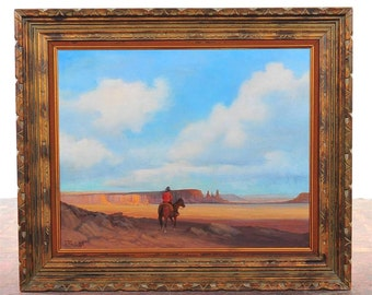 Indian on Horse looking the Horizon-S.Western Oil Painting by Robert Blair