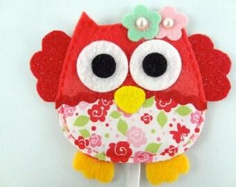 Owl Felt Bookmark - Red Felt Bookmark - Red Owl Felt Bookmark