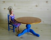 Blythe, Barbie, Momoko doll table  in 1:6 scale. Wooden doll furniture. Provence style.