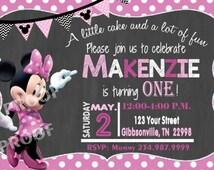 MINNIE MOUSE Invitation, Minnie Invitation, Minnie Birthday Card, 1st Birthday Invitation, Girls Invitation, Polka Dot, Minnie Mouse