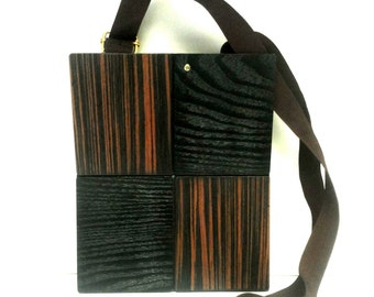 Wooden shoulder man bag