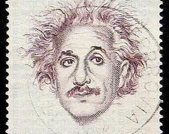 Albert Einstein 1879-1955 Italy -Handmade Framed Postage Stamp Art 10851