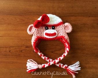 Crochet Valentine's Day Sock Monkey Beanie/Made to Order