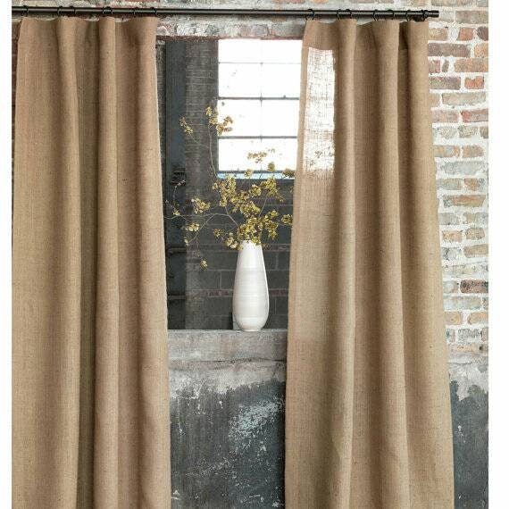 Valance W Burlap Ties And: Natural Burlap Curtains 46 Inches Wide Each Panel / Long By Iramzz