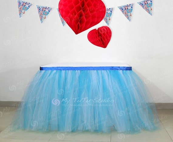blue white mixture tulle table tutu skirt for by mytutustudio