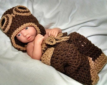 Newborn Crochet Outfit, Aviator Outfit, baby boy aviator photo prop, newborn photo prop, aviator hat, crocheted aviator outfit