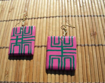 135- Weightless Wooden Earrings- Pink and Green