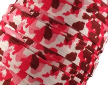 """Pink, Maroon and White Camouflage 5/8"""" Fold Over Elastic - 1, 3 or 5 Yards"""