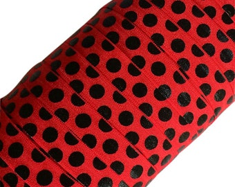 "Black Large Polka Dots on Red 5/8"" Fold Over Elastic - 1, 3 or 5 Yards"