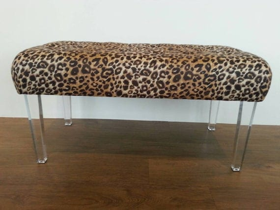 Lucite bench with linen leopard print fabric by modnev on etsy Leopard print bench
