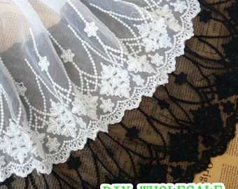 23 cm Black/white embroidered cotton LaceTrim / DIY garments Lace Bridal, Floral,Sewing,Fabric