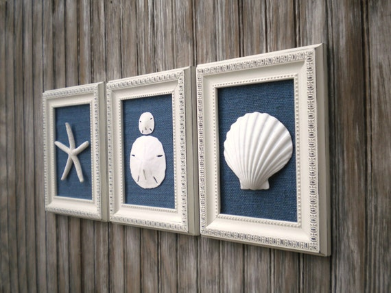 Beach Decor Set Of Wall Art Cottage Chic Sea Shell Art Sea Shells