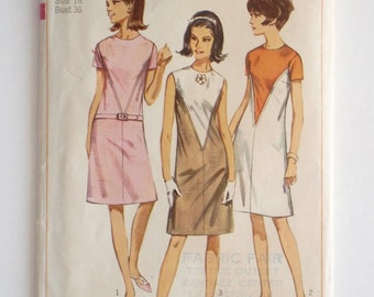Vintage Simplicity sewing pattern 6447 1960s A line dress pattern size 16 1966