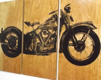 Harley Davidson Vintage 1946 Knucklehead Motorcycle / Bike / Screen Print Wood Painting Wall Art on Stained Solid BIRCH 3/4 inch thick