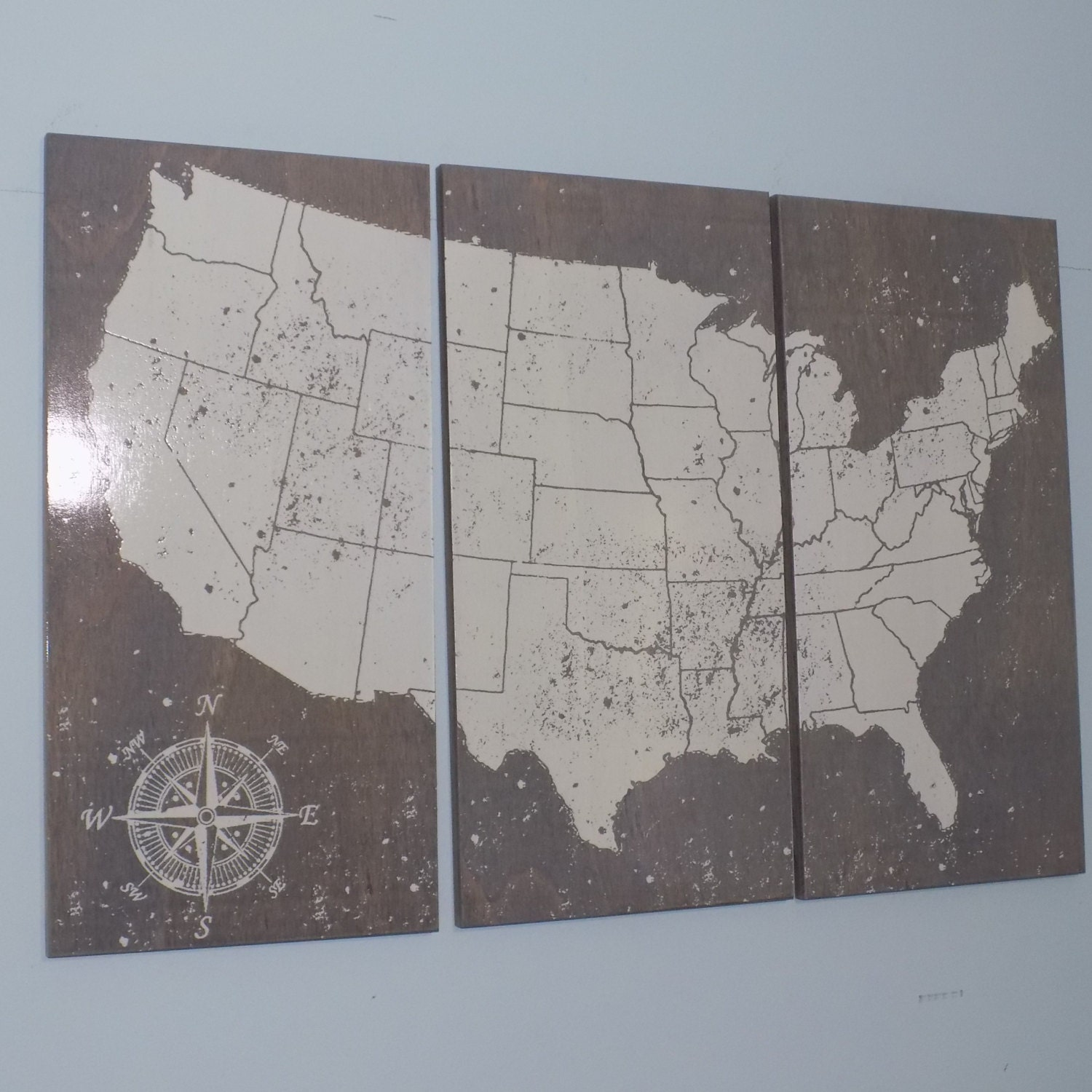 Map Art Wedding Gift : USA Push Pin Travel Map Wall Art Wedding Gift by CedarWorkshop