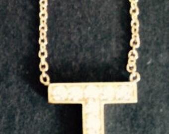 14K Gold Diamond Necklace T