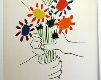 """Picasso Pablo""""Bouquet de Fleurs"""" Lithograph hand signed in plate"""