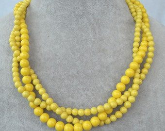 Yellow bead necklace, 3 strands yellow pearl necklace, statement necklace, twist necklace, wedding necklace, yellow necklaces,bridesmaid