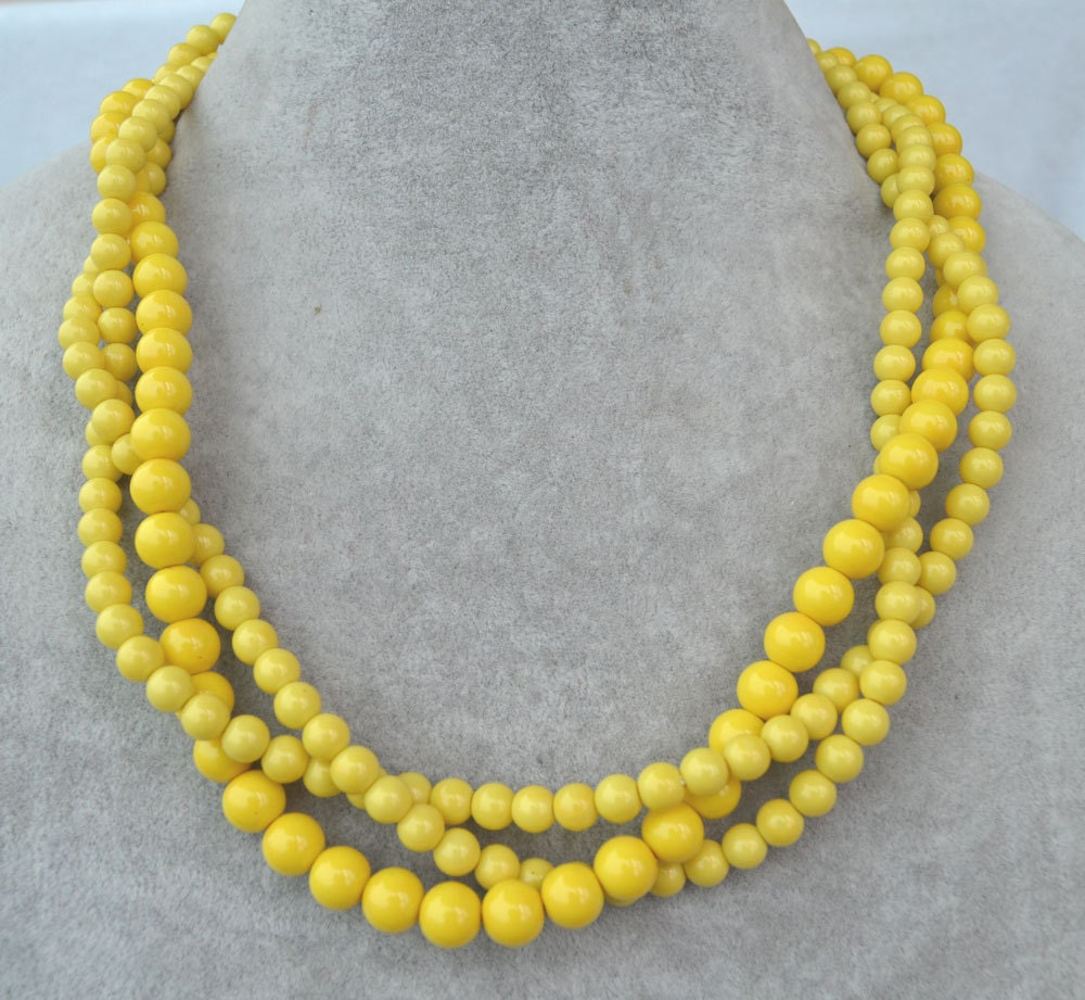 Beads Necklace Beads: Yellow Bead Necklace 3 Strands Yellow Pearl Necklace