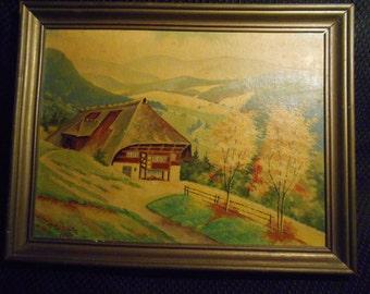 Vintage German Art, Helmut Shultz Art- 1954 Oil On Board- Painting By Helmut Shultz- From Germany