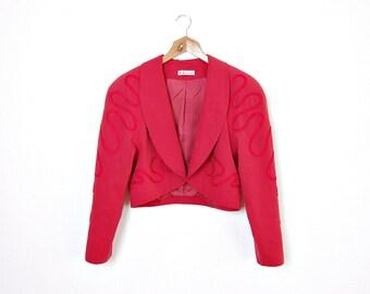 40% OFF SALE - 80s KL by Karl Lagerfeld Crop Red Bolero Jacket / Size 40/L