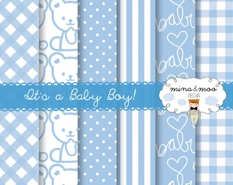 Baby Boy Digital Papers,It's a Boy Card,Baby Shower Invite,New Baby,Baby Blue,New baby boy,Teddy Bear Clipart,Blue stripes,Gingham,Polka Dot
