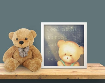 Kids wall art - baby nursery decor - nursery wall art - children wall art - kids teddy bear - blue print -  print good night little teddy