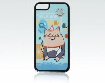Funny Cat iPhone 5c case,  smiling cat iPhone 5c cover, milk iPhone 5c case, cute, cool, unique.