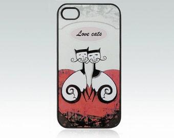 Cat iPhone 4 case, iPhone 4s case, love cats iPhone 4 cover, iPhone 4s cover, unique, art, cat iPhone 4 cover, cute