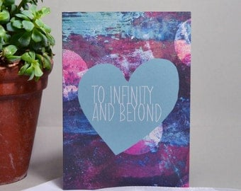 To Infinity and Beyond Heart Card - Disney Card - Love Quote Card - Infinity Card - Anniversary Card